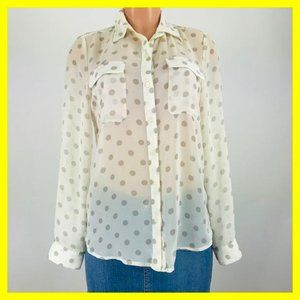Old Navy Women's Top Size M Beige Polka-Dots